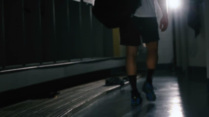 Sportsman in a locker room