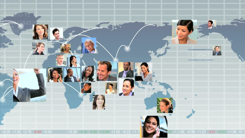 Montage CG global telecommunication graphics with USA shape mosaic young multi ethnic business people using modern wireless technology