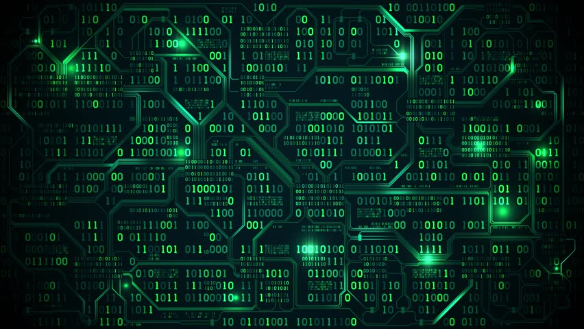 Abstract futuristic electronic circuit board with binary code, neural network and big data - an element of artificial intelligence, matrix background with digits, seamless loop | Shutterstock HD Video #33241573