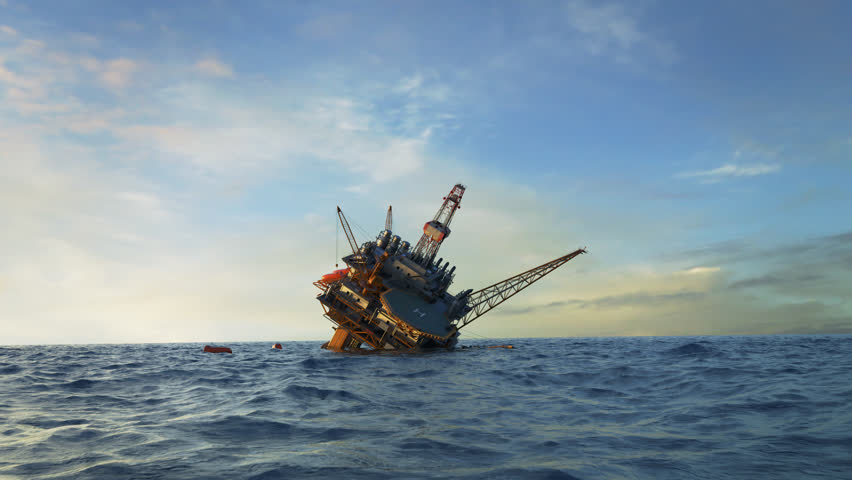 02994 Oil Rig accident. Collapsed Oil Platform. Lifeboats waiting for rescue.