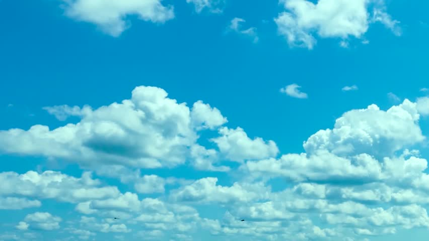 White clouds & blue sky time lapse, rolling clouds fast motion. summer sky time lapse, sun shining and moving clouds, airplane passing by, White Cloud & Blue Sky, Flight over clouds, loop-able. FHD.
