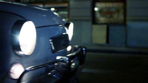 Blue vintage Car Parked