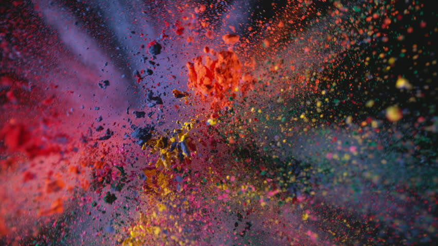 Multi colored powder flying in slow motion as camera pulls away and rotates, shot with high speed motion control. | Shutterstock HD Video #33318943