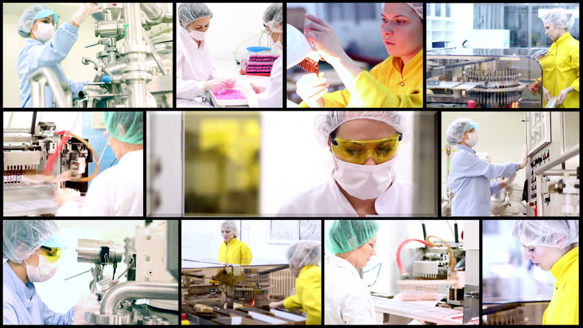 Pharmaceutical Concept. Technology Background. Pharmaceutical Workers. Montage collection of clips showing pharmaceutical workers at work. Pharmaceutical manufacturing. Medicine production.