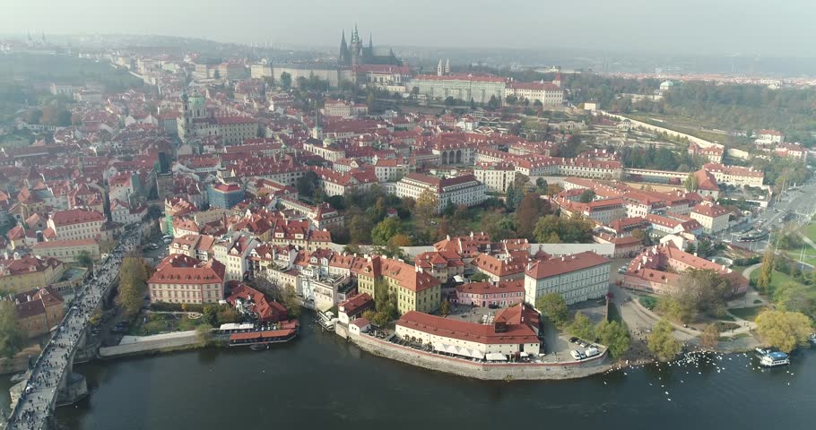 Panoramic view from above on the Prague Castle, top view of Charles Bridge, Vltava River | Shutterstock HD Video #33340363
