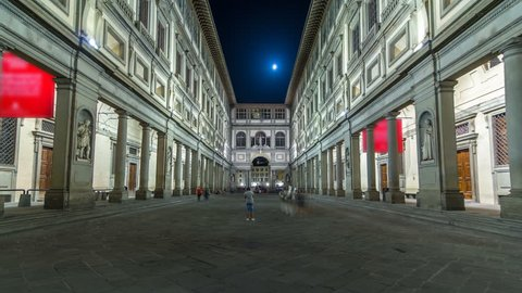 Uffizi Gallery timelapse hyperlapse. It is prominent art museum located adjacent to Piazza della Signoria in central Florence, region of Tuscany, Italy. Night illumination