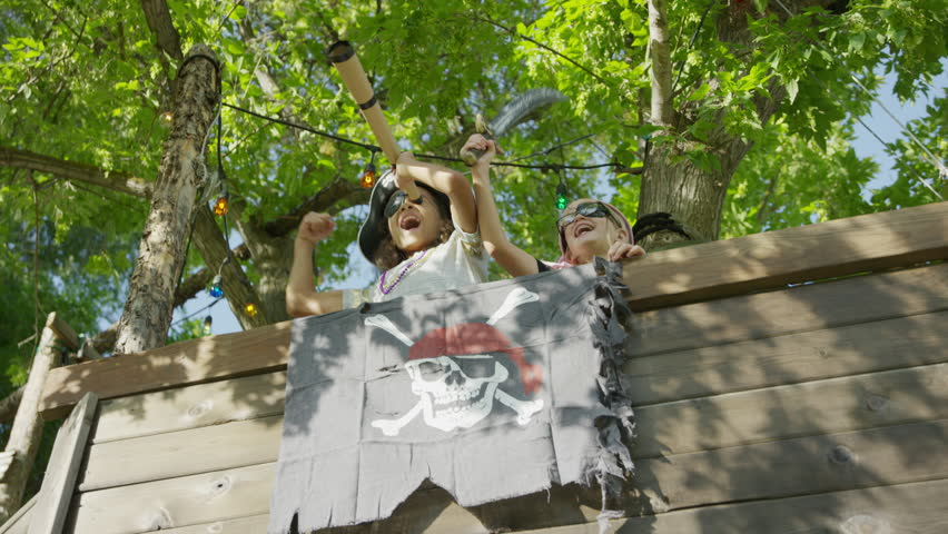 Children playing in pirate ship tree house / Provo, Utah, United States | Shutterstock HD Video #33389503