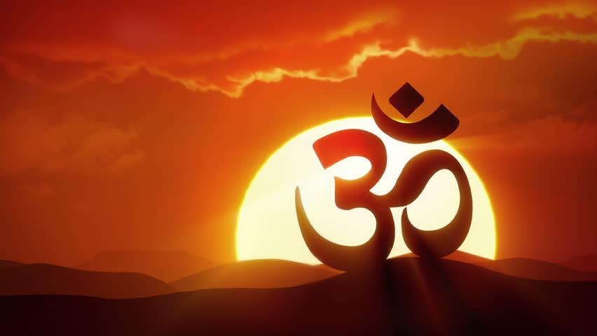 Enlightenment - Sun rising over silhouette of OM symbol in desert