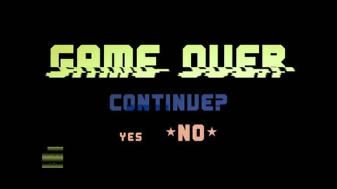 A videogame ending screen text on a tv: Game over Continue Yes No (choice). Fat pc rainbow retro style, full of digital glitch noise errors.