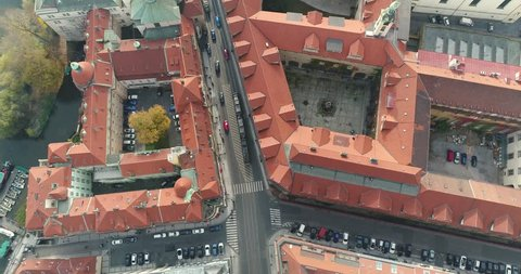 Panoramic view from above on the Prague Castle, aerial of the city, view from above on the cityscape of Prague, flight over the city, top view, Old Town, Prague, October, 2017