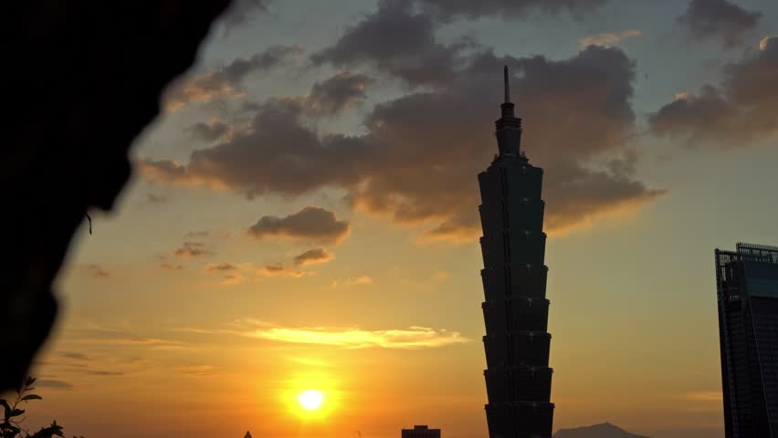 Taipei, Taiwan - 19 July, 2017: 4K Aerial View of sunset landscape building Taipei 101 from the Elephant Mountain realized with camera slider. Cityscape Taipei Skyscraper in background at Taiwan-Dan | Shutterstock HD Video #33423523