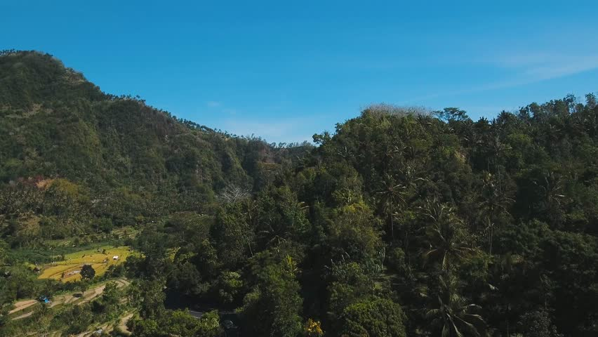 Mountains with rice terrace, farmlands, village, fields with crops, agricultural land of farmers. Aerial view mountains are covered with forest. Bali, Indonesia. 4K video. Aerial footage.