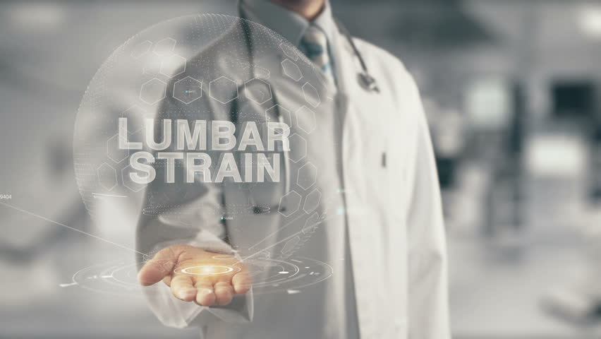 Doctor holding in hand Lumbar Strain