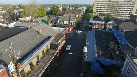 New Orleans Louisiana street aerial views, high & low