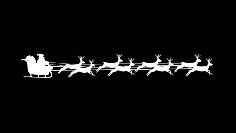 Santa Claus riding in a sleigh with reindeer, 8 deers, Christmas looping (seamless) animation video. White silhouette on black background.