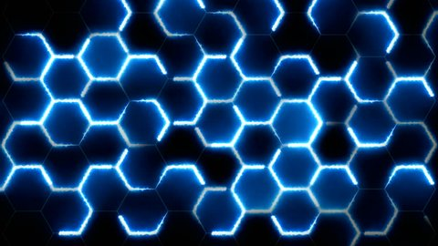 Abstract Hexagon Neon blue light bright clean minimal hexagonal grid pattern Geometric motion Surface technologies or social background futuristic hexagon cell black background broadcast led films art