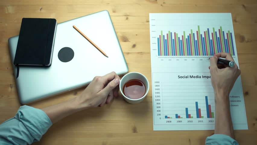 Top view male hands working with printed graphs making notes with marker   Shutterstock HD Video #33448738