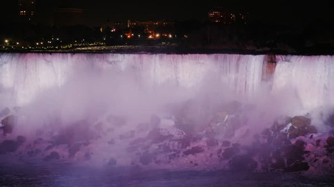 Niagara Falls at night. View from the Canadian coast