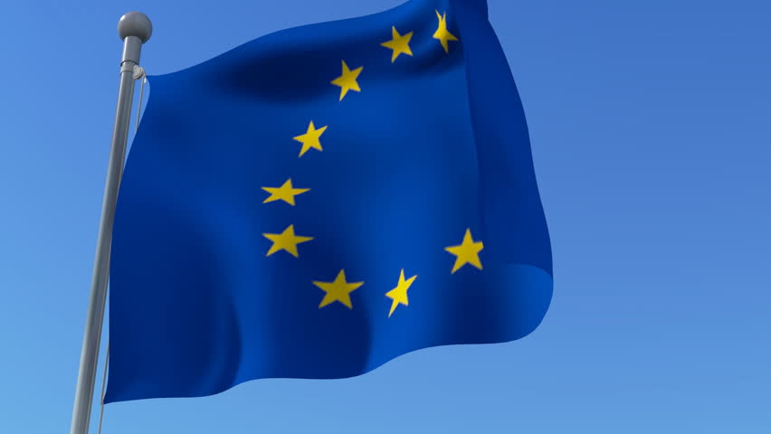 Flag of European Union waving in the wind detail