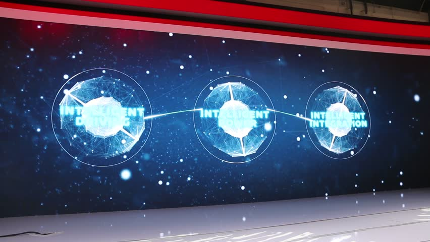DUBAI, UAE - November 14: Giant LED projection screen at Nissan stand during Dubai Int'l Motor Show 2017 at Dubai Int'l Convention and Exhibition Centre in Dubai, United Arab Emirates.