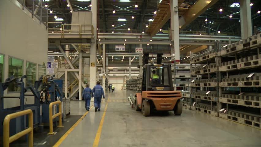 Automobile factory. Car production. Crane shot,.