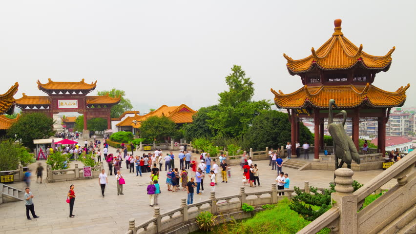 wuhan yellow crane temple park crowded square panorama 4k timelapse china
