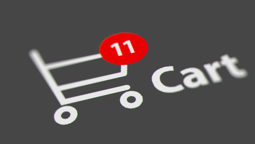 Animation of Adding Items to a Shopping Cart Icon on Computer Screen. Animated Counting Numbers.