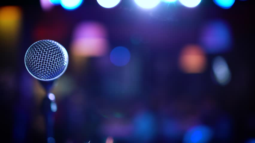 Microphone on stage at a concert venue stock footage video - Microphone wallpaper ...