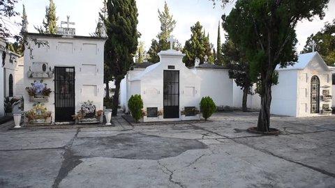 ANTIGUA, GUATEMALA - NOVEMBER 20, 2017: Cemetery in Antigua, Guatemala. Antigua's municipal cemetery