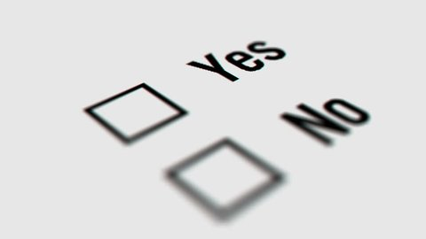 Close up of Yes and No Checkbox Marking Survey. Checking Yes and No Option on White Background. Mouse Cursor Clicking Checkbox.