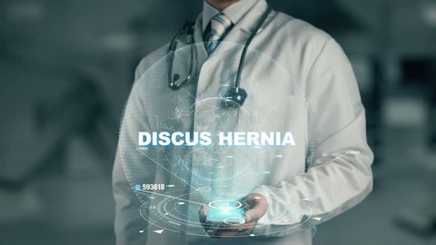 Doctor holding in hand Discus Hernia