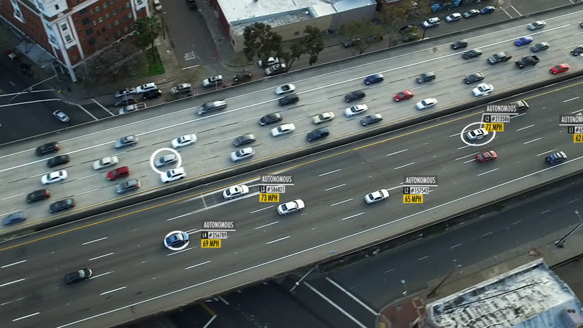 Driverless or autonomous car aerial view. Traffic passing by a highway. Plate number, miles per hour and ID number displaying. Future transportation. Artificial intelligence. Self driving. | Shutterstock HD Video #33601573