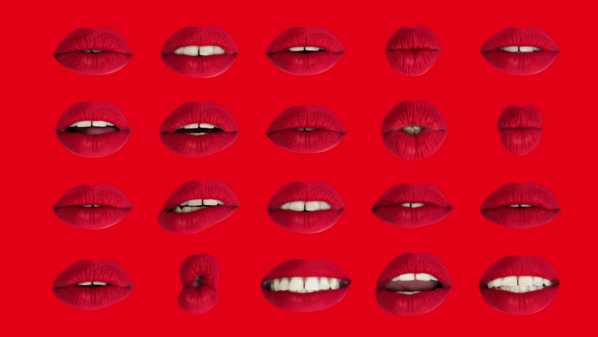 Sequence of different images of woman's beautiful full red lips | Shutterstock HD Video #33612253