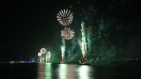 Fireworks lighting up the sky as part of 46th National Day celebrations in Abu Dhabi, UAE