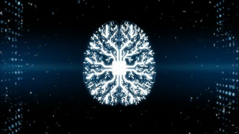 Animation of brain processing information, memory boost. Abstract binary code backround. Neuroscience, process of learning, human or AI brain memory. Artificial intelligence