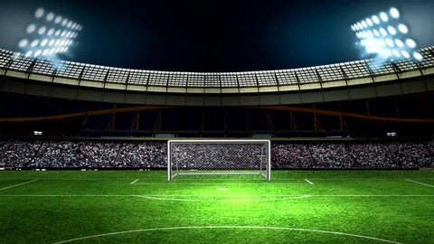 football stadium with lights and audience.animated video