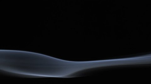 White tobacco smoke line on black background 4k slow-motion video with copy space. Smoking wave floating steaming: cigarette, cigar, vaping, pipe. Nicotine addiction