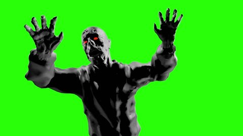 Grim zombie attack with open arms. 3D looped animation in genre of horror. Evil demon monster run. Scary character on green background.