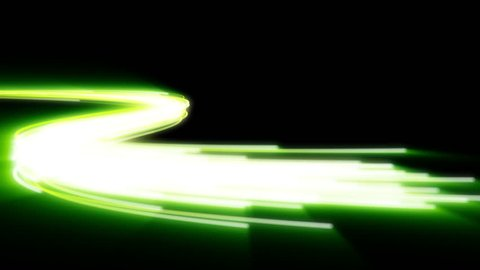 Fast green energy flying wave line with flash lights. Animation magic swirl trace path on black background.