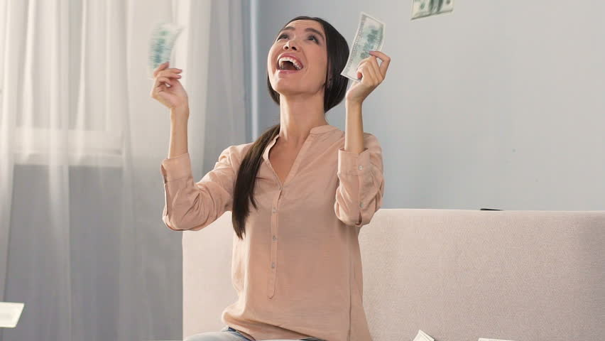 Successful woman happy to receive high percentage from bank deposit, easy money | Shutterstock HD Video #33677383