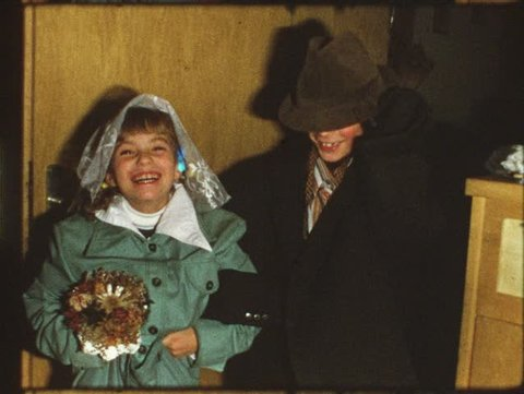 Vintage 8 mm film: Children play wedding