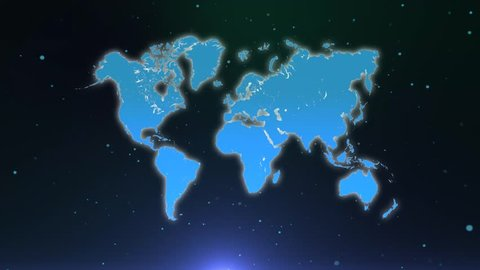 Map of the world. World map of particles