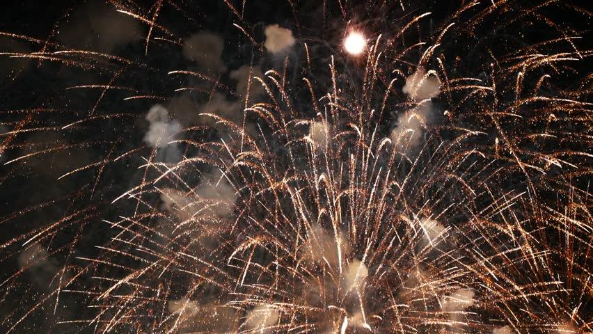 Golden fireworks 4k