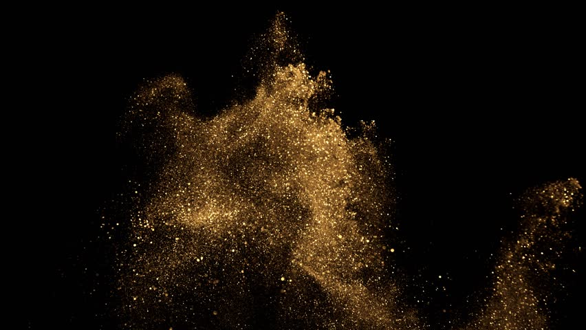 beautiful animation of multi-colored flying flickering particles scattered on a black background #33740923