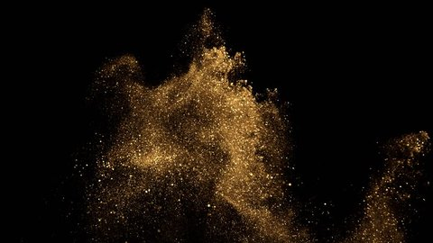 beautiful animation of multi-colored flying flickering particles scattered on a black background