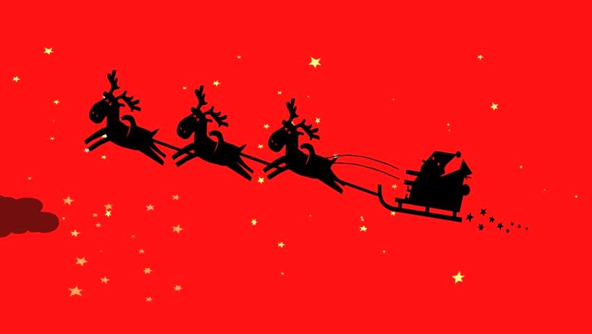 Santa Claus Silhouette Riding A Sleigh With Reindeer Alpha