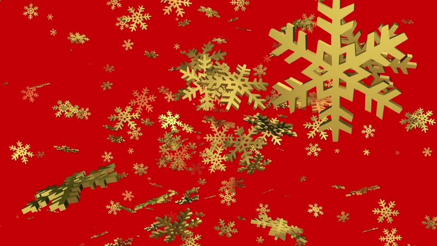 Rotating falling snowflakes in golden color on red  | Shutterstock HD Video #33752563