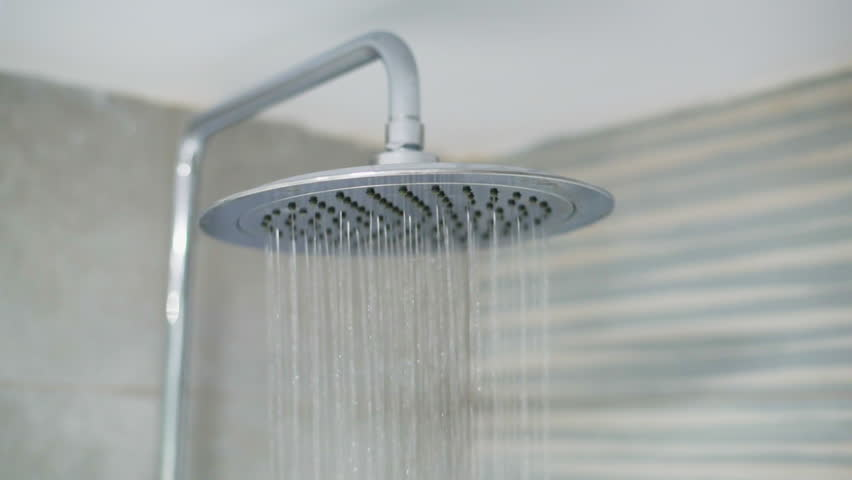 Video Footage Of A Shower Head With Flowing Water, Shot In The ...