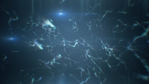 Space full of electric strings appearing and disappearing, with three lights moving around