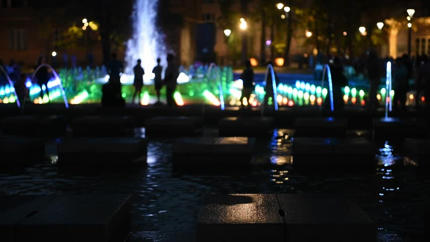 Illuminated street fountain in city a square | Shutterstock HD Video #33799396
